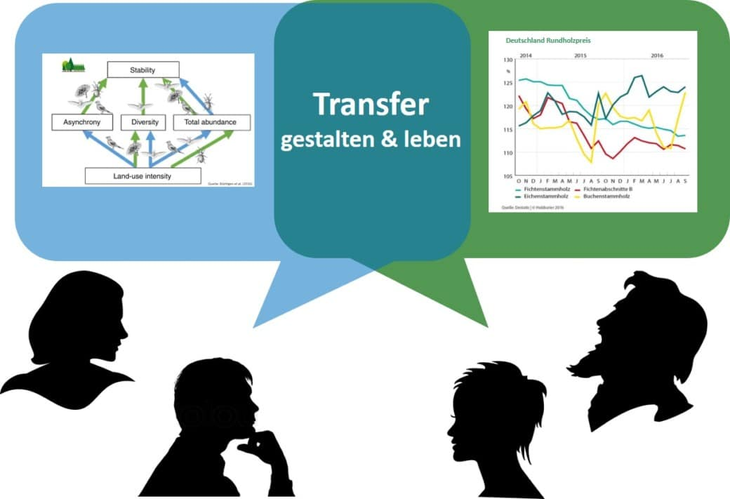 Illustration der Bereiche Forschung und Wirtschaft mit dem Überschneidungsbereich Transfer